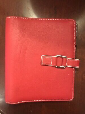 Franklin Covey Red Compact Planner 365 Vegan Faux Leather 6 Ring Snap Closure