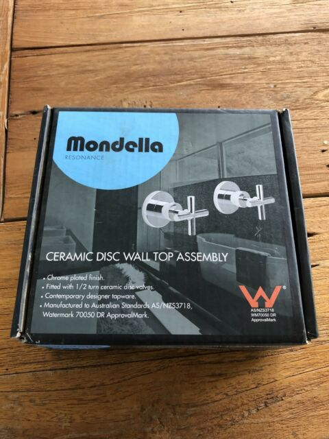 Mondella RESONANCE CERAMIC DISC WALL TOP ASSEMBLY TAP SET Chrome *Aust Brand