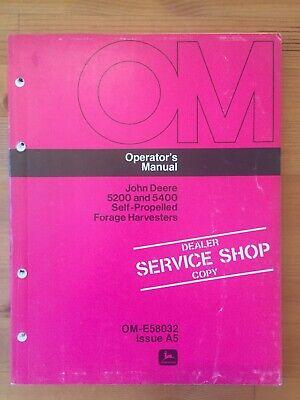 Oem John Deere Operators Manual 5200 5400 Self-propelled Forage Harvesters