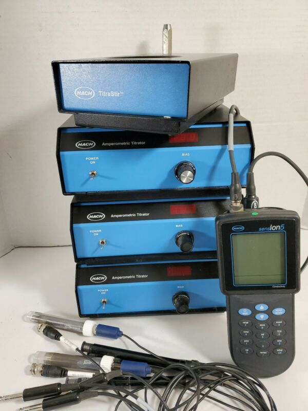 Lot of Hach Amperometic Titrator and TitraStir, Sension5 with Probes