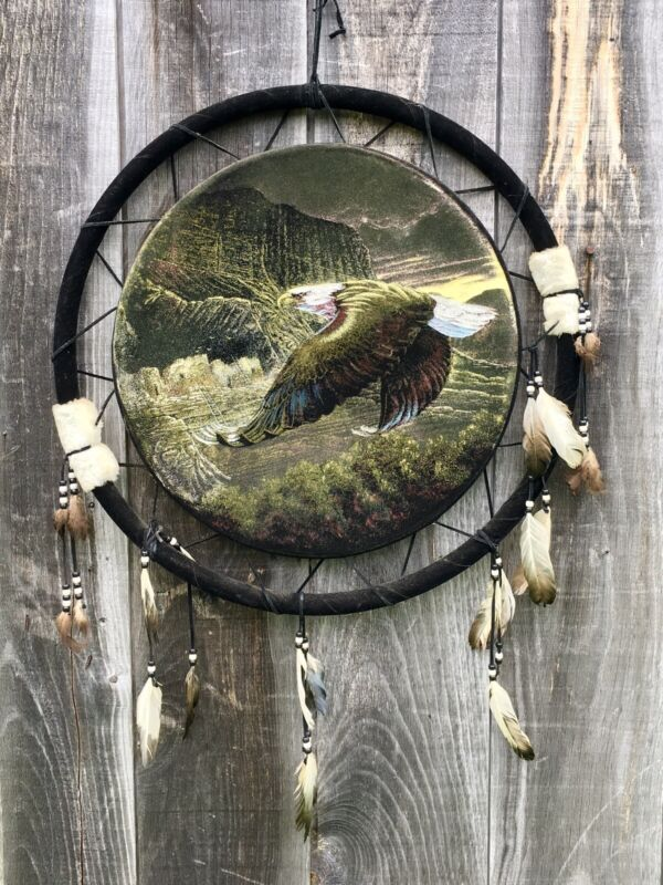 """Vintage XL DREAM CATCHER Painted Velvet American Eagle Feathers Beads 24"""""""
