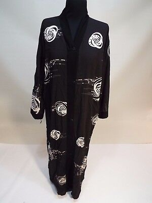 Women long black & white dress kuftan caftan abaya gown size S free shipping