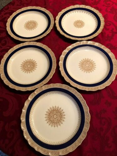 "5 Royal Worcester Dinner Plate 9.5"" Ivory & gold Made for Ovington Bros ca 1890"