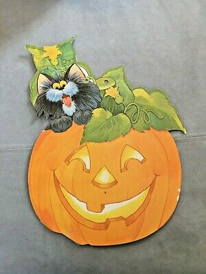 LARGE VINTAGE Halloween Die Cut CARDBOARD Cutout PUMPKIN + BLACK CAT