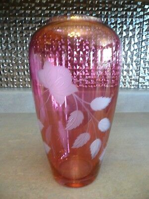 "Vintage Large 10"" Cranberry Luster Glass Vase Frosted Etched Flowers Floral"