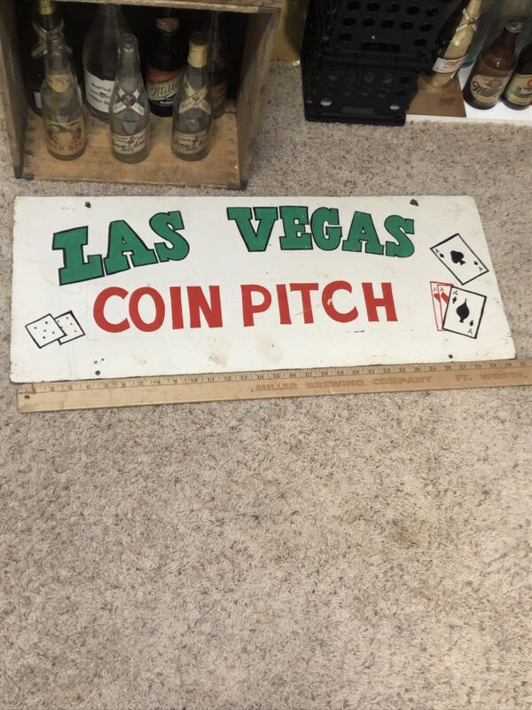 Vintage Carnival Coin Toss Pitch Game Sign Rare Old Antique