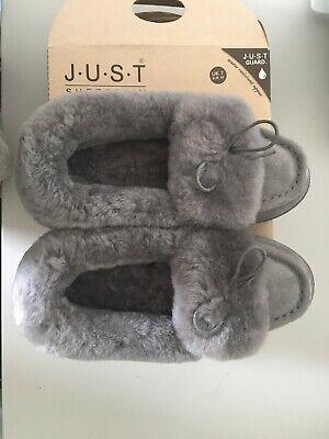 NEW. Just Sheepskin Ladies Avondale Sheepskin Slippers Grey (UK 7)