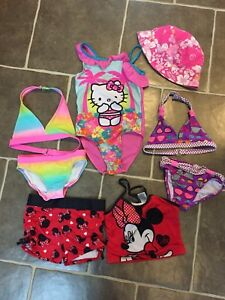 Girls swimsuits and reversible sunhat