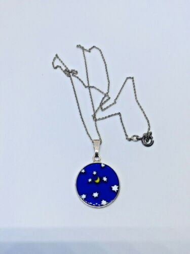 Vintage beautiful necklace MILLEFIORI pendant glass Moon Stars