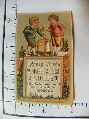 FACY CARDS WHOLESALE&RETAIL JS LOCKE&CO BOSTON TWO CHILDREN BIRD BIRD CAGE 1154