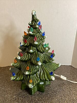 vintage Ceramic Christmas Tree With Colored Lights W/ Base Lights Up 1977 13.5in