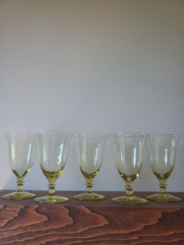 5 Yellow Depression Glass Wine or Water Goblet, Cocktail Glasses