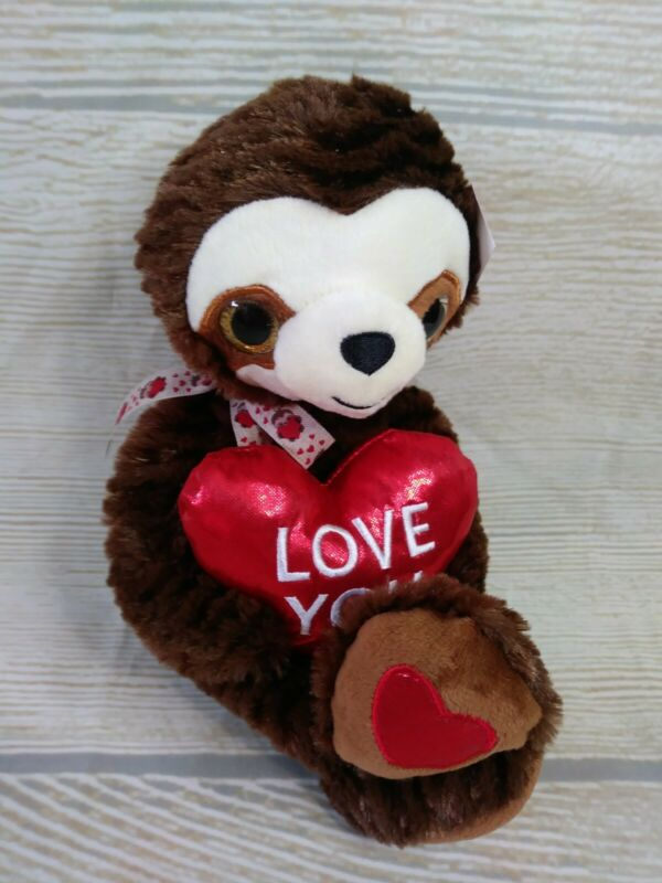 "New! M SLOTH Plush Big Stuffed Animal Heart  Valentines Day Gift 14"" BROWN Love"