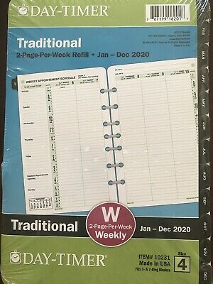 Day-timer 2020 Weekly Planner Refill 2 Pages Per Week Traditional Size 4