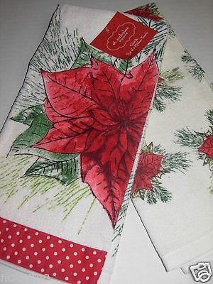 2 St. Nicholas Square Kitchen Dish Towels Poinsettia Yuletide Christmas Red NWT