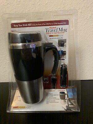 Heated Travel Mug USB & 12-Volt Powered by ROADPRO New -