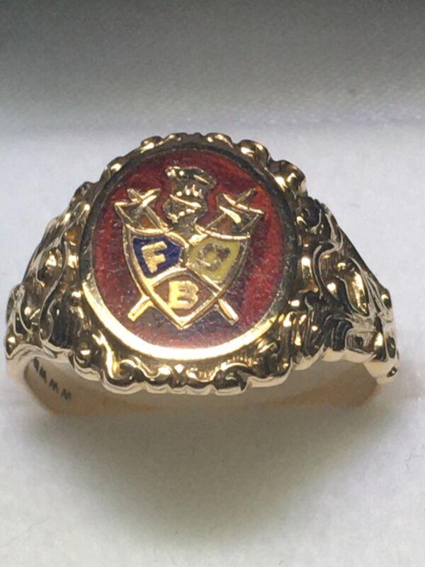 Art Nouveau WWW (ca. 1900) 10K Yellow Gold Knight of Pythias Enamel Ring (Sze 9)