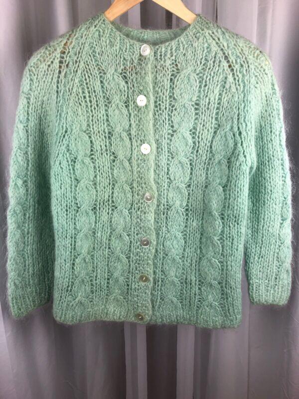 Vintage Angora HandKnit Cardigan Sweater Small Mint Green