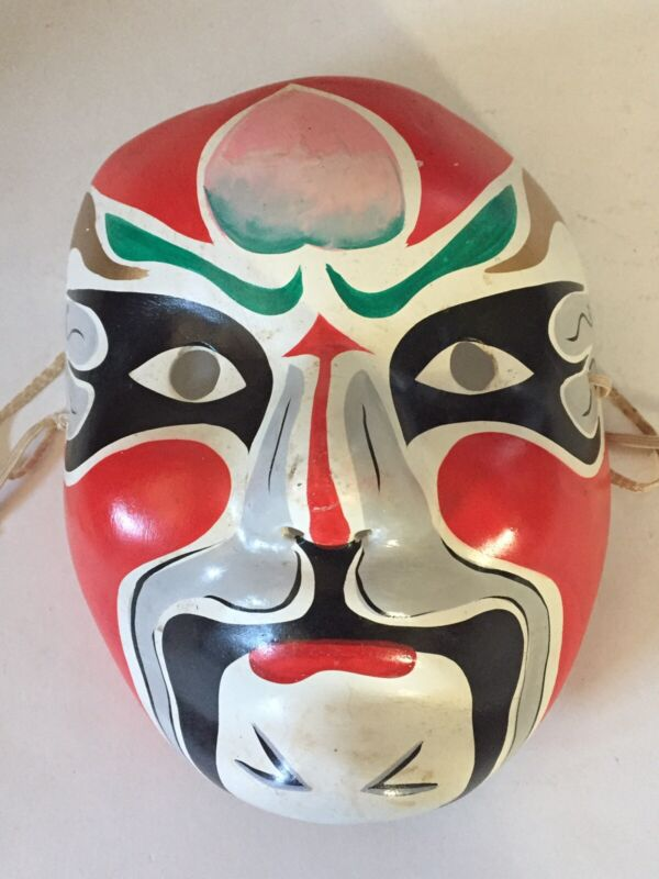 Chinese Paper Mache Theater Mask Hand Painted Red & Green Face with Black Eyes