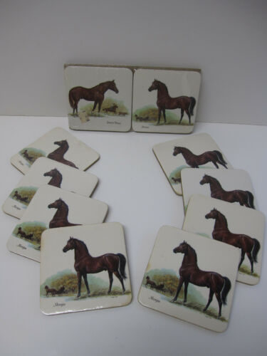 """Lot of 12 Vtg 4x4"""" Cork Morgan Quarter Horse Drink Coasters"""