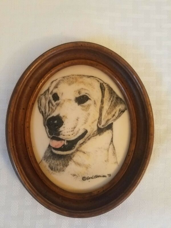 Labrador Retriever Lab Dog Etched Wall Plaque Vintage Signed Earl Sherwin 1973