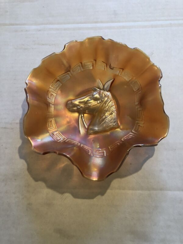 Antique Marigold Carnival Glass Dish HORSE