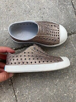 glitter NATIVE shoes loafers toddler girl sz 8 C8 GREAT SHAPE clean BLING
