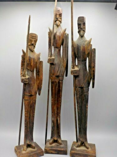 3 Mid Century Carved Wood Don Quixote Soldier Sculptures Ouro Artesania Spain