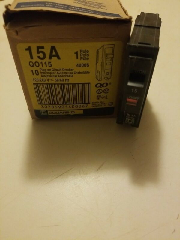 Lot of 10 New Circuit Breaker Square D QO115  15 Amp 1 Pole 120/240V Plug-On