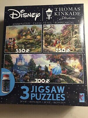 Disney Thomas Kinkade Mickey Snow White Jigsaw Puzzle 3 Pack with Glue 2020 NEW