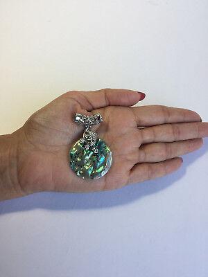 Abalone Sterling Silver Slide Pendant - .925 STERLING SILVER PLATED PENDENT W/ SLIDE BALE & ABALONE & FLOWER DESIGN J180