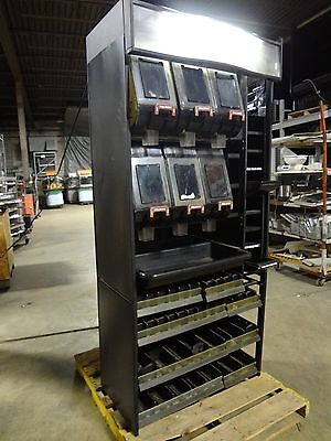Heavy Duty Commercial Lot Of 6 Coffee Bin Dispenser On Lighted Display Rack