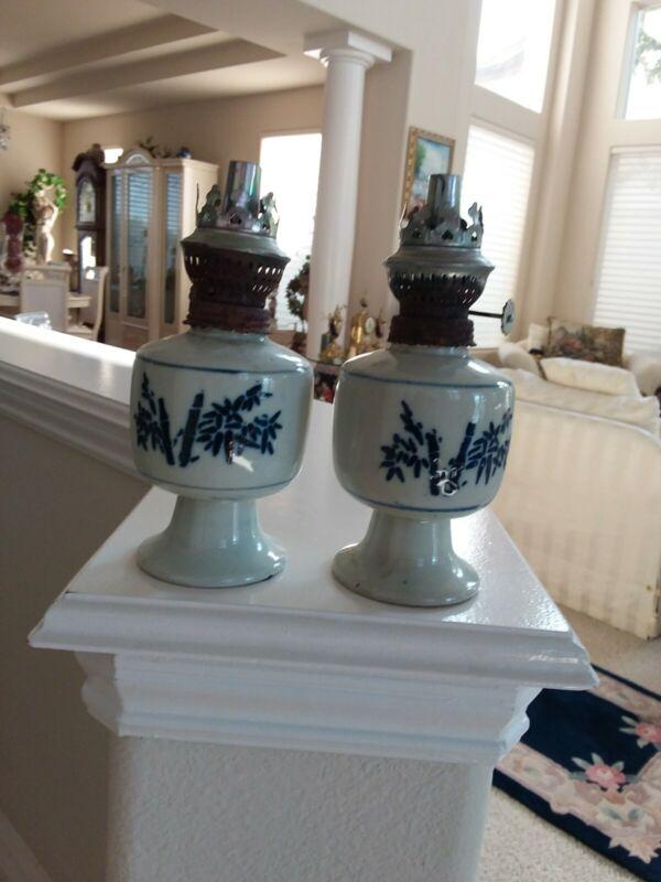 Chinese Antique Scholars Desk  Kerosene lamps blue bamboo painting