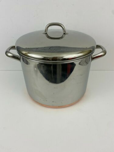 Vintage Revere Ware 1801 10 Qt Quart Copper Bottom Stock Pot w/Lid Made in USA