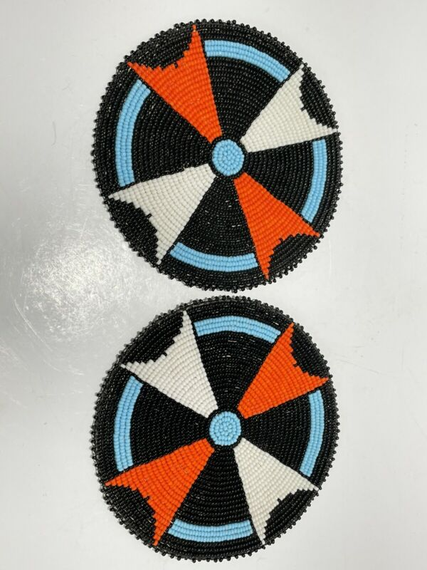 2 Native American Style 5 inch Beaded Rosettes Black & White Arrow Leather Back