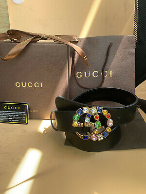 Gucci black belt leather colored gemstone double G buckle  size 95cm