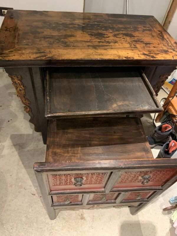 Vintage Asian Style Unique Hidden Desk- Dresser.