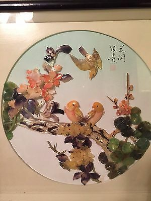Asian Hand Carved Mother of Pearl Shell Art Wall Shadow Box Birds Flowers Signed