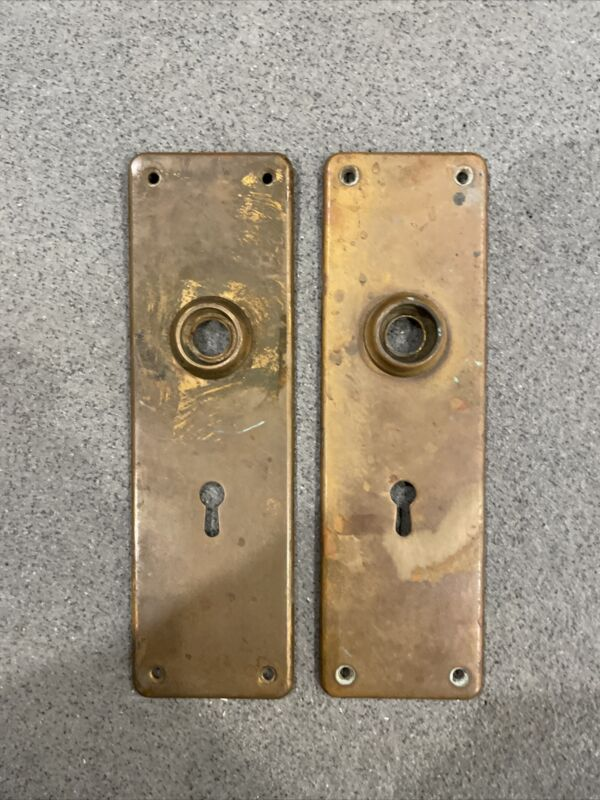 Antique/Vintage Brass Door Backplates, Mortise Style, Patina, Knob Plate