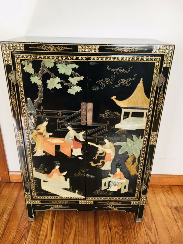 Vintage Chinese Black Lacquer Hand Painted Cabinet