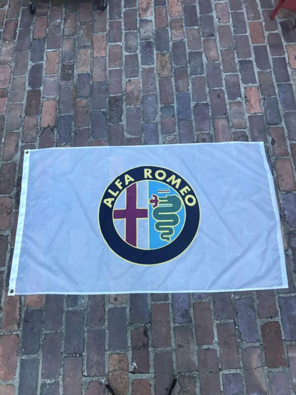 VINTAGE LARGE 5 X 3 FEET NYLON ALFA ROMEO FLAG BANNER WHITE WITH BRASS GROMMETS