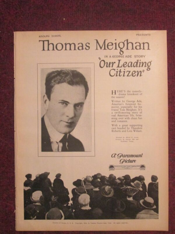 Our Leading Citizen - Original 1922 Pressbook - Thomas Meighan