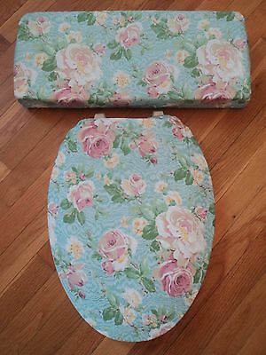 Aqua Blue Turquoise Teal Cyan Dusty Pink Rose Bathroom ..Toilet Seat Cover Set