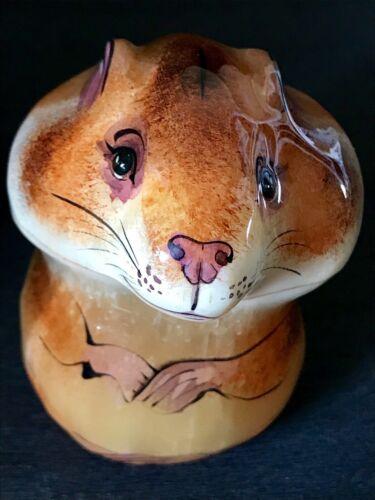 Hamster figurine selenite natural stone  souvenir original painting handmade