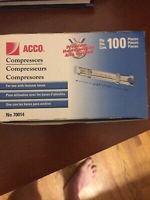 Acco Acc70014 Paper Fastener Compressors 2 Capacity Prong Base Pk100