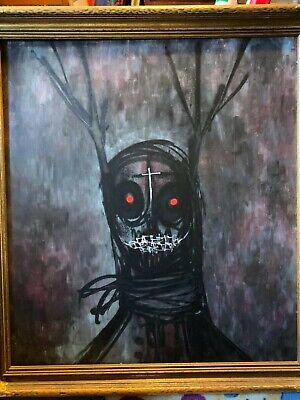 Abstract Oil Painting on Board of  Scary Figure ,Very heavy piece Art ()