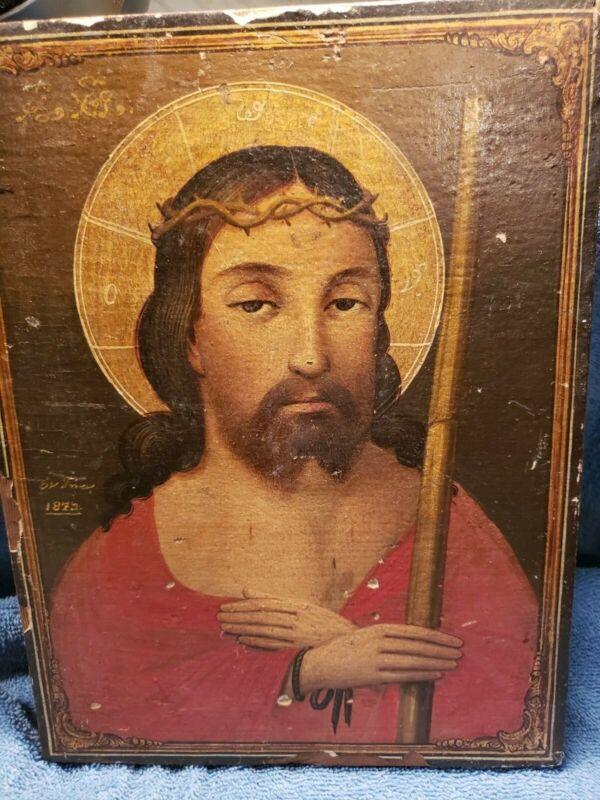 "Vintage Greek Orthodox Byzantine Jesus on Wooden Backing 12 X 9"""