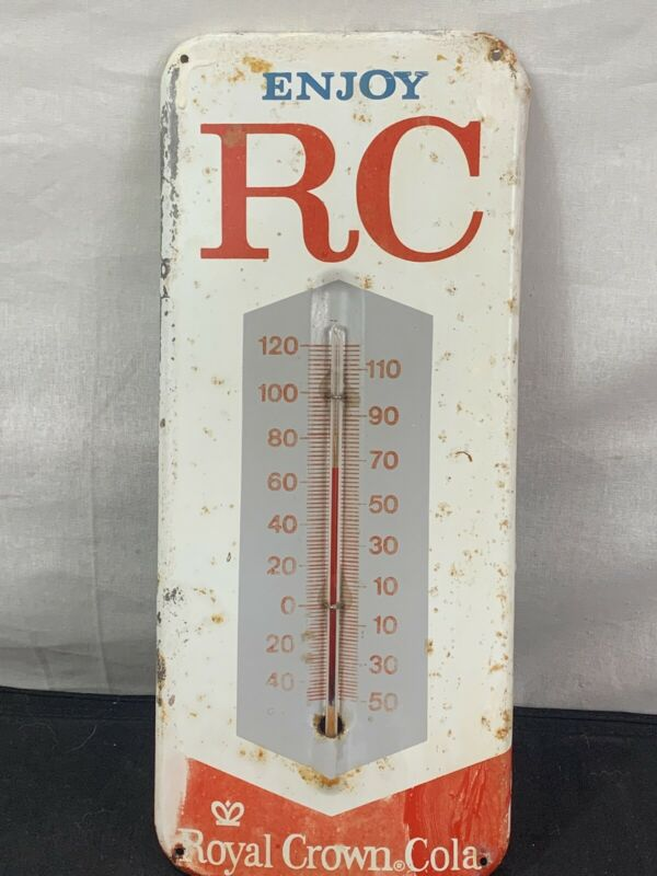 """Vintage 14-inch Working """"Enjoy RC"""" Cola Soda Metal Advertising Thermometer Sign"""