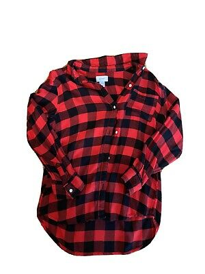 Girl Old Navy Red & Black Flannel Top Size -