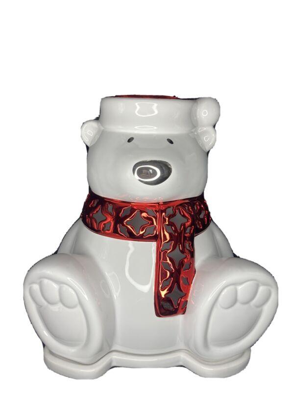 H Slatkin Bath & Body Works Candle Luminary Polar Bear Red Scarf Large Ceramic